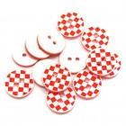 Plastový knoflík 13mm Červená šachovnice