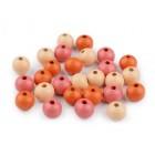 Dřevěný Korálek Mix Oranžová 10 mm / 35 Ks