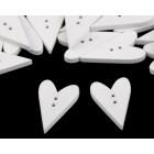 Dřevěný knoflík Srdce Bílé Velké