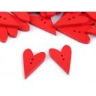 Dřevěný knoflík Srdce Červené Velké