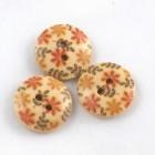 Dřevěný knoflík 15mm Oranžové kytky
