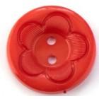 Plastový Knoflík 25 mm Květina Červená