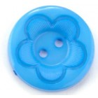 Plastový Knoflík 25 mm Květina Modrá
