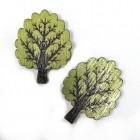 """Dřevěný knoflík """"Strom zelený"""""""