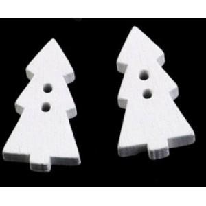 Dřevěný knoflík Vánoční Stromeček Bílý